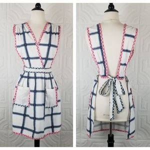 Anthropologie White Blue and Pink Apron